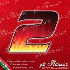 Adesivo Stickers NUMERO 2 moto auto cross gara FIRE FLAMES Fiamme Fuoco 15 cm