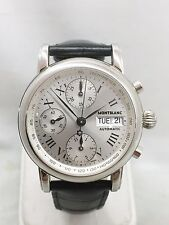 MONTBLANC CHRONOMETER S. STEEL 4810/501 AUTOMATIC MEN'S WATCH Leather Band