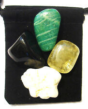 TOOTH STRENGTHENER Tumbled Crystal Healing Set =4 Stones +Pouch+Description Card