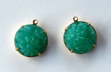 VINTAGE PEKING GLASS FLORAL RAISED PATTERN ROUND BEAD PENDANT 15mm JADE GREEN