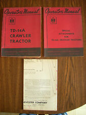 IH Farmall Mccormick International TD14A Crawler Owners and Attachments Manual