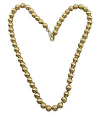 Monet Vintage Necklace Gold Textured Bead Choker 15 inch Chain Modernist 320g