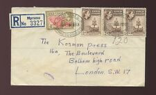 GOLD COAST MPRAESO OVALS REGISTERED SURFACE MAIL 6 1/2d to GB 1956