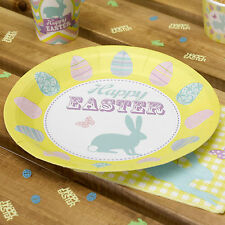 8 HAPPY EASTER PAPER PLATES BUNNY Rabbit Eggs 9 Inch Celebration Party Buffet