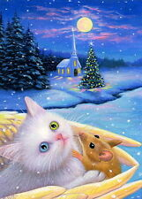 White kitten cat mouse angel wings church Christmas moon OE ACEO print art