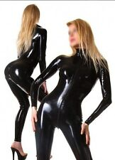 Latex Rubber Catsuit Black Fashion Tights Full-body Bodysuit Size XS- XXL