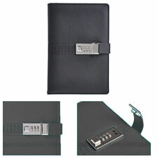 A5 Black Leather Diary Journal Pocket Planner Notebook With Lock Password Lined