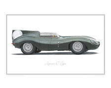 Jaguar D-Type - Limited Edition Classic Racing Car Print Poster by Steve Dunn