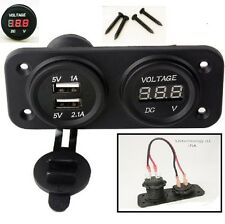 Dual USB Charger / Voltmeter Panel Marine 12V Motorcycle Power Outlet- No LED