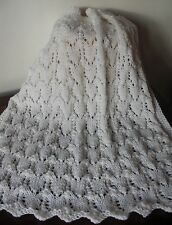 """Baby blanket/afghan White 31x31"""" 0-12 months Stunning handknitted lace Brand New"""
