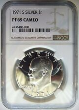 1971 S Eisenhower IKE NGC PF 69 CAMEO SILVER Dollar Proof Like DMPL PL Coin PR