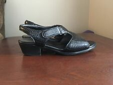 SAS Suntimer Black Crocodile Leather Comfort Dress Sandal Heel Women size 9
