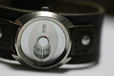 Tokyo Bay Electronvolt Jump Hour Womens Watch Steel Brown Leather Cuff New Batt