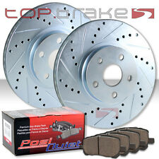 FRONT TOPBRAKES Drill Slot Brake Rotors + POSI QUIET Ceramic Pads TBP7579