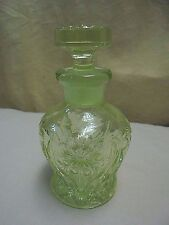 VTG Yellow Depression Glass Floral Perfume Apothecary Bottle Decanter & Stopper