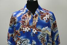Hilo Hattie hibiscus coconut cloud island ukulele ocean lei Hawaiian shirt large