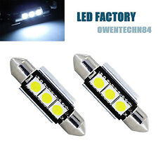2X 39mm 3 SMD LED 239 272 C5W CANBUS NO ERROR WHITE INTERIOR LIGHT FESTOON BULB