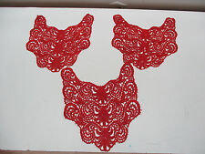 LOT Embroidery Red Lace Neckline Collar Applique Trim Bridal Dress Sewing Craft
