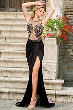 Abito lungo Spacco aperto ricamo nudo Gold Floral Fishtail Halterneck Maxi Dress