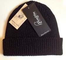 Mens Merino Wool Hat -Watch Cap-Beanie BLACK MSRP $65.00 NWT