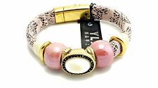 Pink And Black Strap Bracelet With Pink Beads And A  White Oval Center Stone