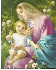 Catholic Print Picture OUR LADY of the ROSARY Virgin Mary w/ Child Jesus 8x10""