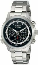 NEW Invicta 19237 Mens Silver Chronograph Date Black Dial Watch Specialty Quartz