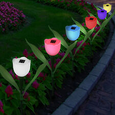 6pc Outdoor Solar Powered Tulip Flower LED Light Yard Garden Path Landscape
