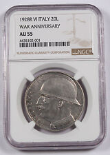 Italy 1928 R VI 20 Lire Silver Coin NGC AU55 AU KM-70 10th anniversary of WWI