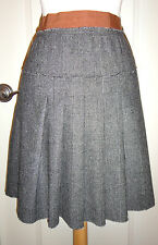 Dolce & Gabbana Glen Plaid Pleated Wool Blend Gray  Skirt ~Sz 44~Super Cute~