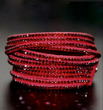 Slake Crystal Wrap Bracelet made w Swarovski Crystal Red Alcantara ® Leather