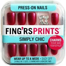 FING'RS PRINTS 24 Press-On Nails LOOK POLISHED Fuchsia+Bow Charms SIMPLY CHIC