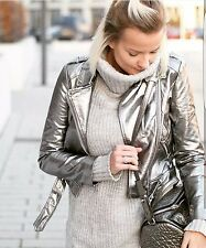 ZARA Silver Futuristic Metallic Leather Biker Jacket With Zip Studded Large L