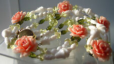 """30"""" Vintage W.Germany Necklace Roses & Beads Pink/Green/White"""