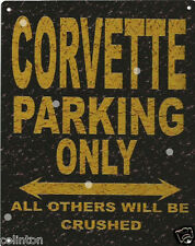 CORVETTE PARKING METAL SIGN RUSTIC VINTAGE STYLE 6x8in 20x15cm garage