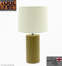 Beige Suede Base & Cream Shade Table Lamp Living Room   Bedroom   GIFT NEW