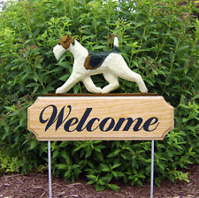 Wire Fox Terrier Dog Breed Oak Wood Welcome Outdoor Yard Sign