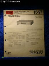 Sony Service Manual TC S7 Cassette Deck  (#1728)