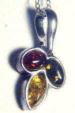 HOUSE OF RHYA THREE-STONE MULTI-COLOR AMBER PENDANT ON STERLING SILVER CHAIN