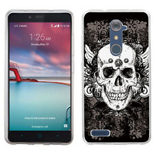 For ZTE Zmax Pro / Z981 Slim-Fit TPU Gel Phone Case - Vintage Skull