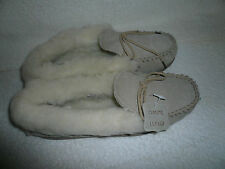 WOMENS MOCCASIN SLIPPERS SIZE 6UK 39EU BEIGE REAL SUEDE WOOL LINED BY COOLERS