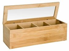 Bamboo 4 Section Tea Box Perspex Lid Tea Caddy Kitchen Storage Eco Wood