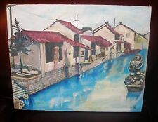 Vintage 1993 Original Oil Painting Southern Coastal City Fishermen Canal Boats