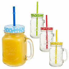 4 x 400ml Glass Drinking Cups Mason Jars With Handle & Straw Jar Colour Lids Set