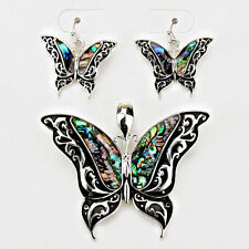 Butterfly Pendant Earrings SET Metal Swirly ABALONE SHELL SILVER Jewelry