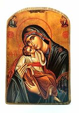Handmade Wooden Greek Orthodox Wood Icon Virgin Mary & Jesus Christ  MP2/1