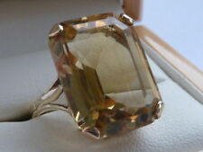Vintage 1970s 9ct Gold Ring with a Beautiful 7ct Citrine UK P  4.5G
