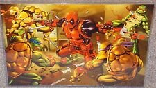 Deadpool vs The TMNT Glossy Art Print 11 x 17 In Hard Plastic Sleeve