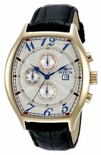 Invicta Specialty Multi-Function White Dial Black Leather Mens Watch 14330