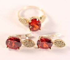 Turkish  Jewelry RubyTopaz 925K Sterling Silver Earrings and Ring Size 9.75